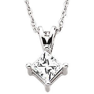 Stunning Square Princess Cut Diamond Solitaire Pendant in 14k White Gold - Choose Diamond Size - FREE Chain