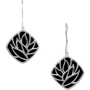 Stunning Sterling Silver Wire Earrings with A Leafy Design and a Black Onyx Back Drop - SOLD