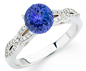 Stunning Twisted Diamond Studded Shank Genuine 1 CARAT 6mm Tanzanite & Gold Ring for SALE