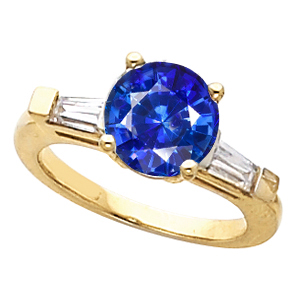 Low Price on Vivid Blue 1 ct GEM 5.8mm Blue Sapphire Gemstone Engagement Ring With Diamond Baguette Side Gems
