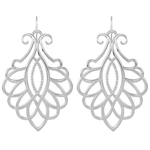 Stunning Wire Back Sterling Silver Earrings with Intricate Detailing and .25 ct Diamond Accents