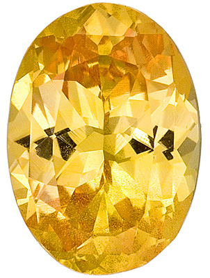 Stunning Yellow with a Flash of Peach Sapphire Genuine Gemstone, Oval Cut, 2.28 carats