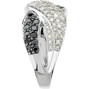 Stylish 1.00 Carat Total Weight 1.20 mm Black & White Diamond Ring set in 14 karat White Gold