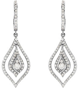 Stylish 1.00 carat total weight 2.80 mm Diamond Earrings skillfully set in 14 karat White Gold for SALE