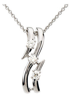 Stylish 1/10ct Three Piece Curved 14k White Gold and Diamond Pendant for SALE - FREE Chain