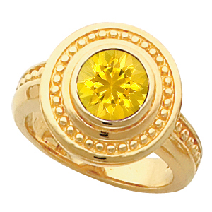 Stylish 14k Gold Bezel Set Yellow 1 carat 6mm Sapphire Fashion Ring With Etruscan Inspired Look