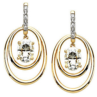 Stylish 14k Yellow Gold Post Back Dangle Earrings With Suspended 2ct 7x5mm Oval Shape Created Moissanite - Diamond Accents