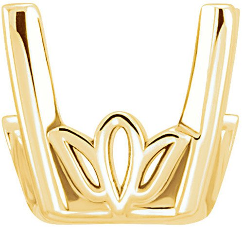 Stylish 14kt Gold 4-Prong Scroll Setting for Antique Square Gemstone Sized 3.50 mm to 12.00 mm