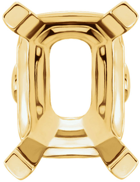 Stylish 14kt Gold 4-Prong Setting with Solder Pads for Emerald Shape Gemstones Sized 4.00 x 3.00 mm to 16.00 x 12.00 mm