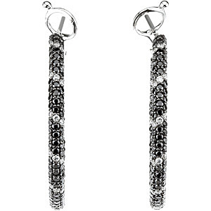 Stylish 2 ct Black Diamond Hoop Earrings With White Diamond Accents - Choose Your Size