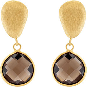 Stylish 29ct 16mm Smokey Quartz Dangling Post Back Earrings in 14 k Yellow Vermeil - SOLD