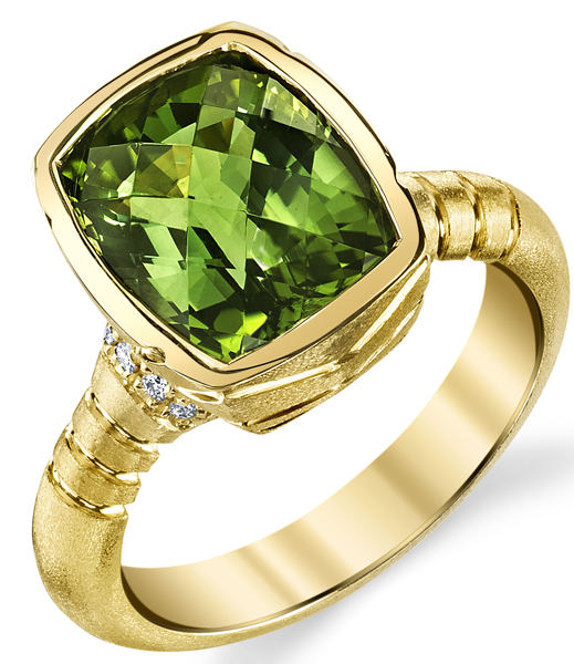 Stylish Bezel Set 18kt Yellow Gold 4.85ct Cushion Cut Green Tourmaline Gemstone Ring - Diamond Accents