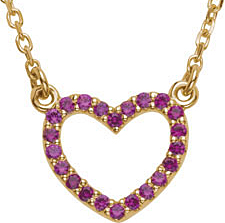 Stylish Channel Set .22ct 1mm Ruby Heart Necklace skillfully set in 14 karat Yellow Gold for SALE - FREE Chain - SOLD