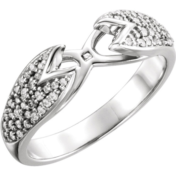 Stylish Chunky Pave Diamond Preset Shank in 14kt White Gold - 1/4ctw Diamond Accents