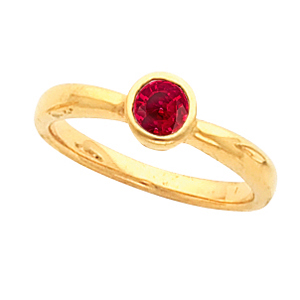 Stylish Fine Gold Bezel Set with True GEM Grade .45ct Natural Fine Red Ruby Gemstone Fashion Ring