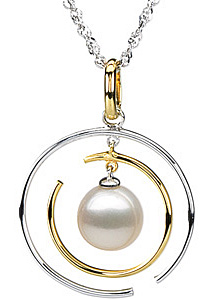 Stylish Freshwater Cultured Pearl Pendant in 14 karat White Gold & 14 karat Yellow Gold with FREE Gold Chain - SOLD