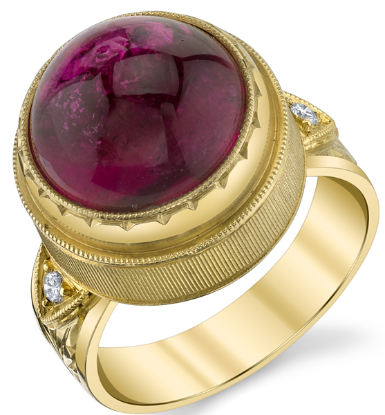 Stylish Hand Made Bezel Set 10.75ct Round Cabochon Pink Tourmaline18kt Yellow Gold Ring With Diamond Accents