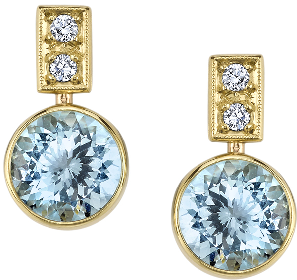 Stylish Handmade 18kt Yellow Gold Post Back Dangle Bezel Set Round Aquamarine Earrings - 0.20ctw Diamond Accents