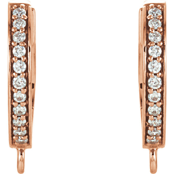 Stylish Hoop Style Diamond Accented ClickIn Leverback Earring Pair With Ring  Metal Type Options