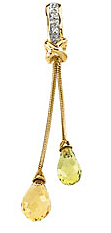 Stylish Multicolor Gemstone Briolette & Diamond Pendant set in 14 karat Yellow Gold - Free Chain - SOLD