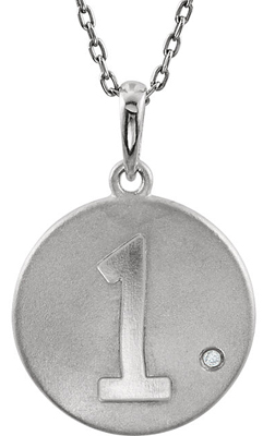 Stylish Numeric Disc Pendant In Sterling Silver With Single .005ct 1.00 mm Diamond Accent - Choose Any Number 0 - 9 - Free Chain Included