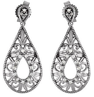 Stylish Open Pear Shape Sterling Silver Dangle Earrings With .1 ct Diamond Accents for SALE - 0.85 - 0.95 mm stones