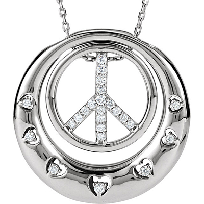 Stylish Peace & Love Circle Pendant With .2ct 1.1-1.5mm Diamond Accents for SALE - Free Chain Included - SOLD