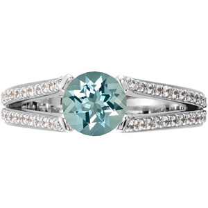 Stylish Split Shank 4-Prong GEM Grade 1ct 6mm Aquamarine Gemstone Engagement Ring - Diamond Accents Along Bands