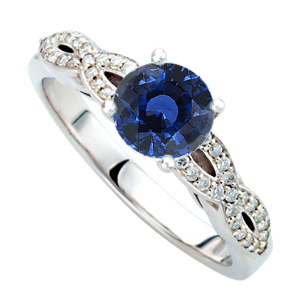 Stylish Twisted Gold Shank Ring set with Gorgeous Royal Blue Genuine 1ct 6mm Blue Sapphire Gem for SALE