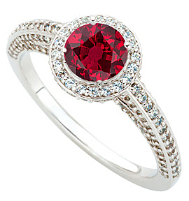 Ruby Ring Genuine 1 carat 6mm Gem AAA Ruby and Pave Diamond Ring