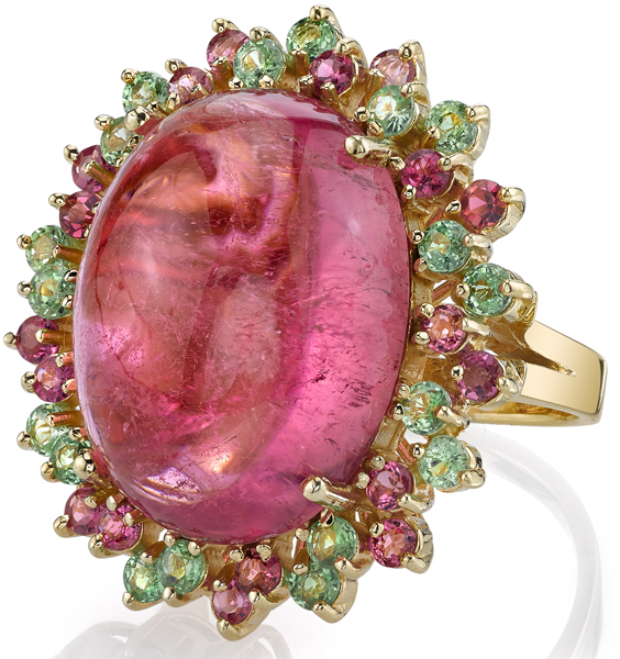 Super 26.68ct Oval Pink Tourmaline Cabochon Statement Ring in 14kt Yellow Gold - Pink Tourmaline & Tsavorite Gem Halo