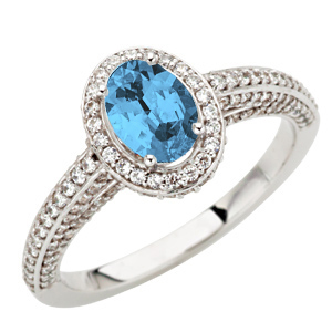 Super .85ct 7x5mm GEM Blue Aquamarine Gemstone sits in Nest of Diamonds on White Gold