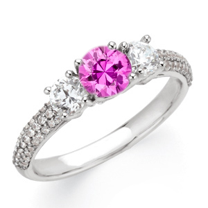 Super Bling GEM 1 carat 6mm Genuine Pink Sapphire Gemstone Engagement Ring With Diamond Side Gems and Diamond Accents on Band