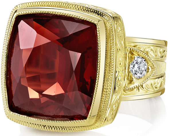 Super Bold Hand Made 11 carat Orangey Red Almandite Garnet With Diamond Accents in 18kt Heavy Yellow Gold - SOLD
