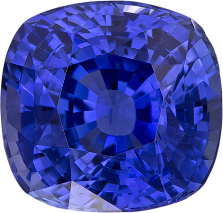 Super Bright Blue Sapphire Gem In Cushion Cut, Rich Medium Tone Blue Color, 9.1 x 8.7 mm, 4.63 carats