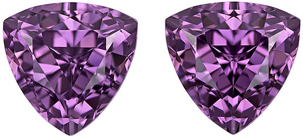 Super Bright Spinel Well Matched Pair in Trillion Cut, Rich Mauve Purple, 6.8 mm, 2.71 carats