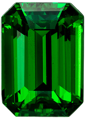 Super Bright Tsavorite Emerald Cut Genuine Gem, Rich Grass Green, 8.4 x 6.1 mm, 2.18 carats