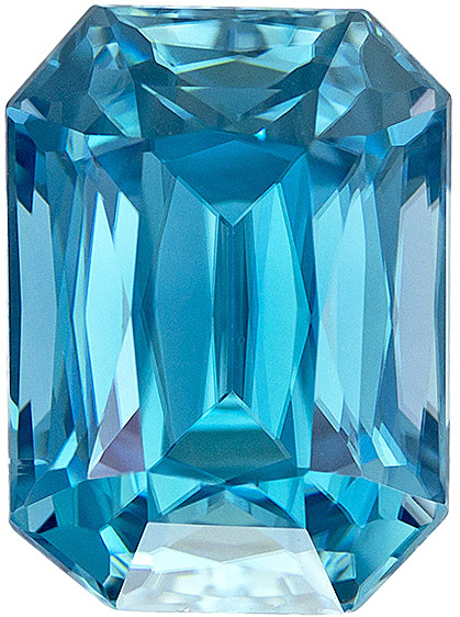 Super Bright Vivid Blue Zircon Loose Gem in Classic Emerald Cut, 10.7 x 7.9 mm, 6.54 carats