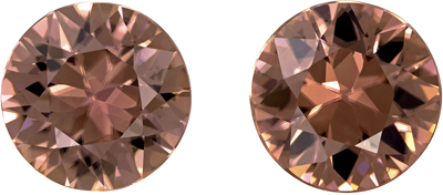 Super Brown Zircon Well Matched Pair, 6.9 mm, Champagne Rosey Brown, Round Cut, 3.14 carats