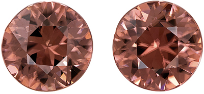 Super Brown Zircon Well Matched Pair, Round Cut, Rosey Copper Brown, 7.8 mm, 5 carats