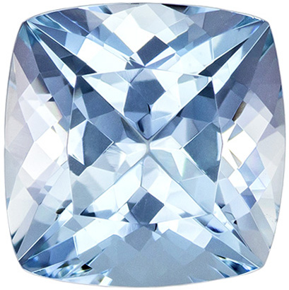 Super Cushion Cut Aquamarine Loose Gem, Rich Blue Color in 8.9 mm, 2.68 carats