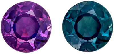 Super Desirable Alexandrite Loose Gem in Round Cut, Teal Blue to Burgundy Magenta, 4 mm, 0.32 carats
