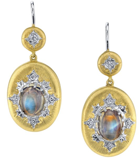 Super Detailed 2-Tone 18kt Gold Handmade 6.89ct Moonstone Dangle Earrings - 10 Diamond Accents