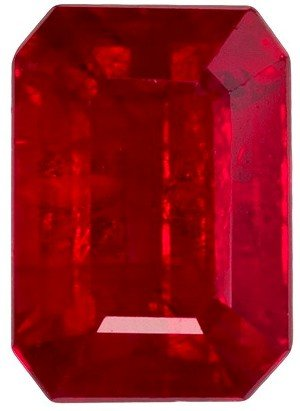 Super Eye Clean Bright Ruby Gem in Emerald Cut, Vivid Pure Red Color, 7.6 x 5.4 mm, 2.07 carats