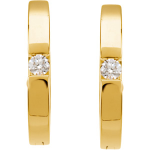 Super Find! - Expressive .07 ct tw 2.10 mm Diamond Hoop Earrings expertly set in 14 karat Yellow Gold for SALE