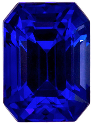 Super Fine Gem 0.9 carats Sapphire Loose Genuine Gemstone in Emerald Cut, Medium Blue, 5.9 x 4.3 mm
