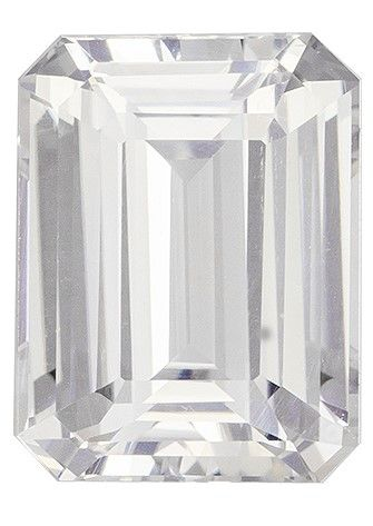 Super Fine Gem 3.54 carats Sapphire Loose Genuine Gemstone in Emerald Cut, Colorless White, 9.6 x 7.4 mm