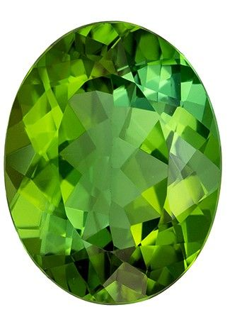 Super Fine Gem 4.01 carats Tourmaline Loose Genuine Gemstone in Oval Cut, Medium Green, 11.9 x 9.2 mm
