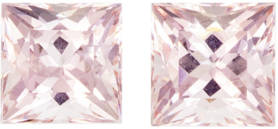 Super Fine Gem 6.1 mm Morganite Genuine Gemstone Pair in Princess Cut, Pure Peach, 2.35 carats