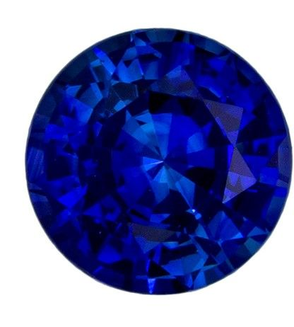 Super Fine Gem 6 mm Sapphire Loose Gemstone in Round Cut, Medium Blue, 1.08 carats